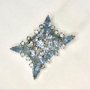 Blue Rhinestone Juliana Style Rectangle Brooch
